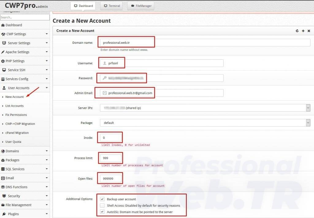 Centos web panel yeni hosting açılım formu
