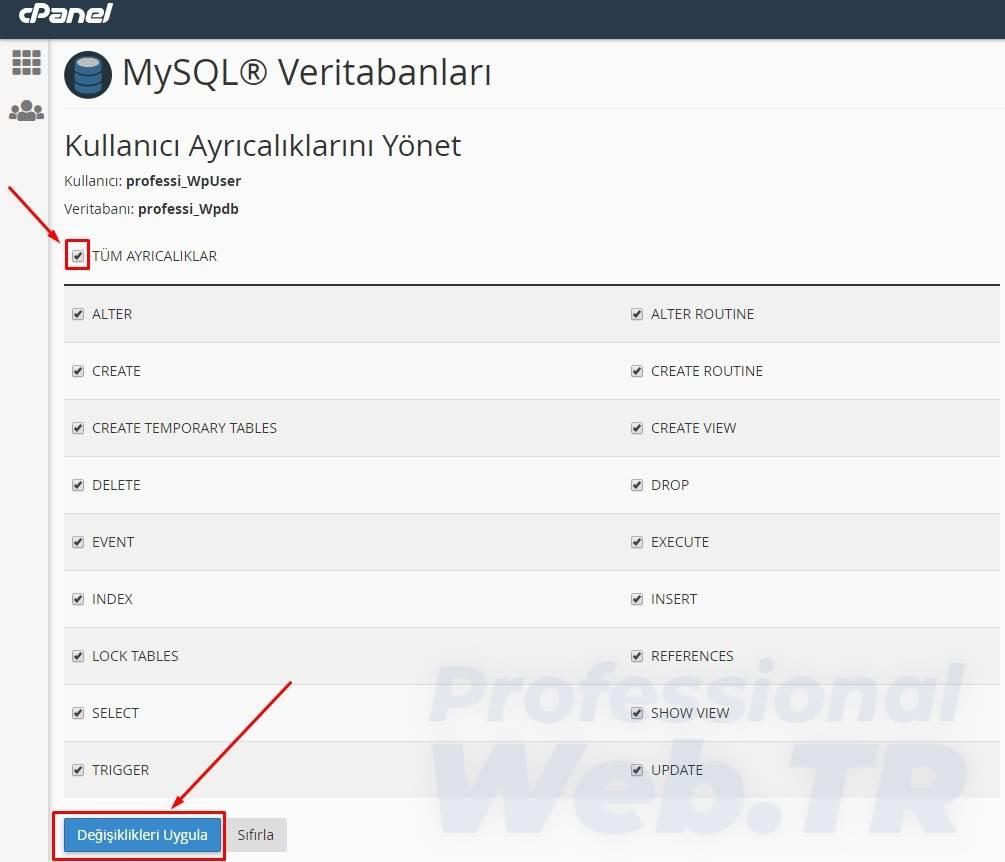 mysql veritabanına mysql kullanıcısına yetki tanımlanması