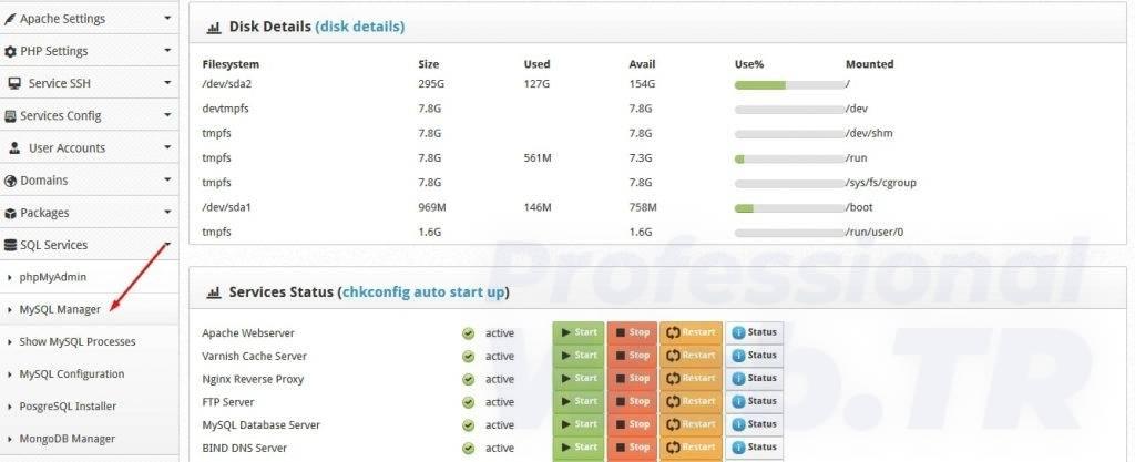 centos web panel mysql veritabanı açılması