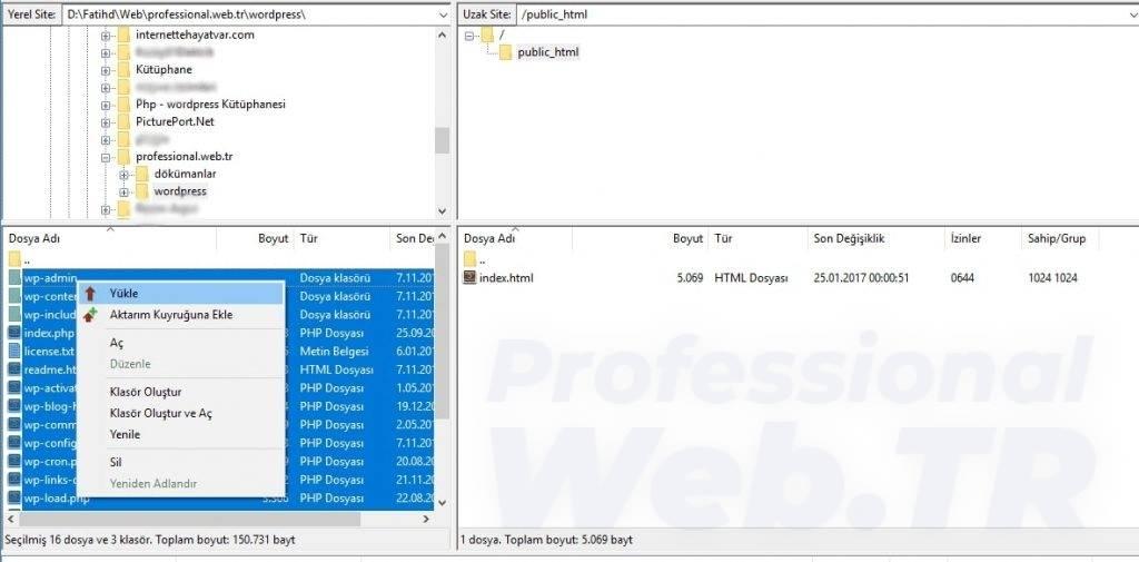 Filezilla ftp programı ile wordpress kurulum dosyalarını yükleme işlemi