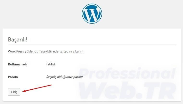 wordpress kurulum tamamlandı