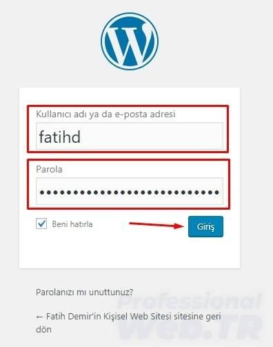 wordpress kurulum sonrası ilk login ekranı