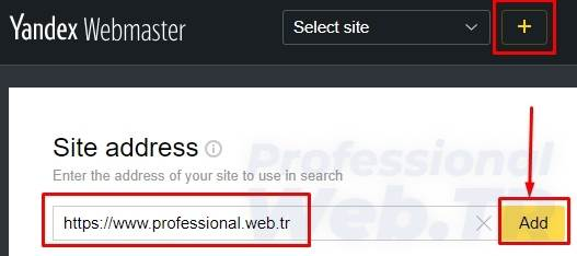 yandex site ekleme