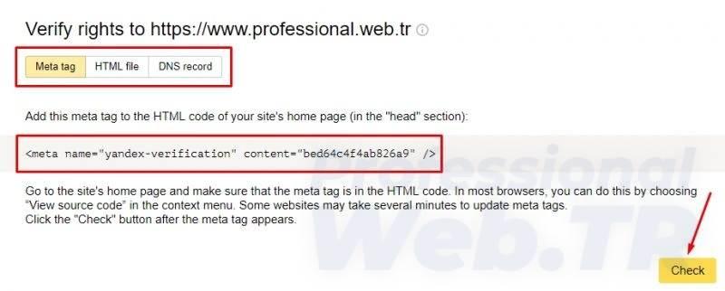 yandex site ekleme - html etiket teyidi