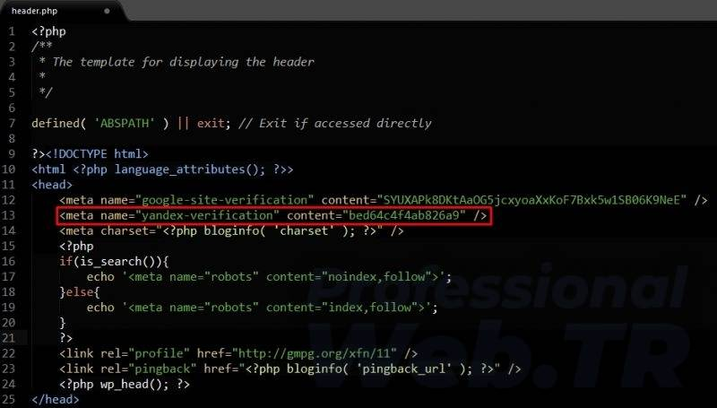 yandex site ekleme - html header meta tag kodu