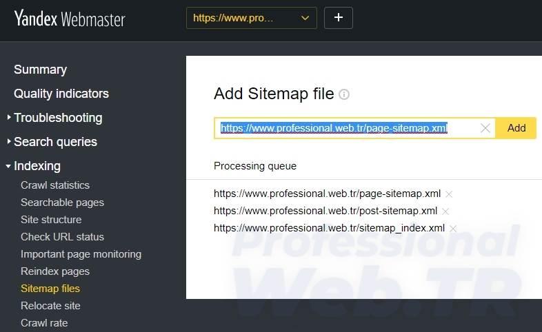 yandex site ekleme sitemap ekle